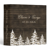 Barnwood Rustic Pine trees winter wedding  Planner Binder