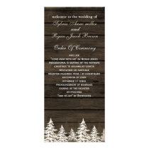 Barnwood Rustic Pine trees, winter wedding program