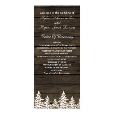 Barnwood Rustic Pine trees, winter wedding program