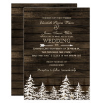 Barnwood Rustic Pine trees, winter woodland Card
