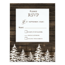 Barnwood Rustic Pine trees, winter woodland rsvp Card