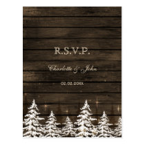 Barnwood Rustic Pine trees, winter woodland rsvp Postcard