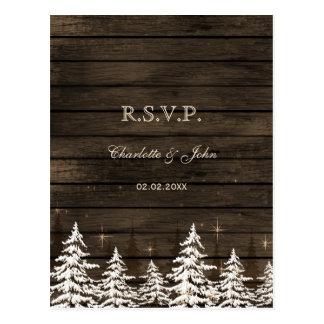 Barnwood Rustic Pine trees, winter woodland rsvp Postcard