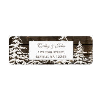 Barnwood rustic pine wedding address label