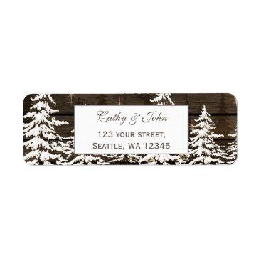 Barnwood rustic pine wedding address label