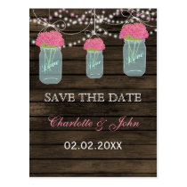 Barnwood Rustic pink flowers mason jars save dates Postcard