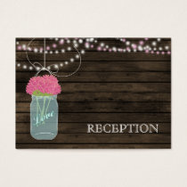 Barnwood Rustic pink mason jars reception invite