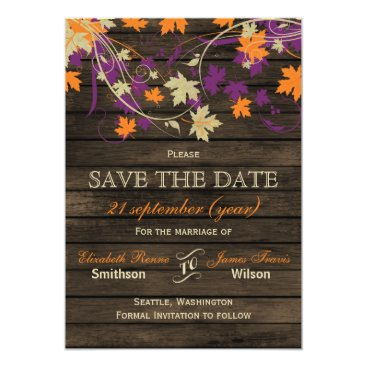 Barnwood Rustic plum fall leaves save the date Card