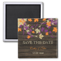 Barnwood Rustic plum fall leaves save the Date Magnet