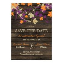 Barnwood Rustic plum fall leaves save the date Magnetic Card
