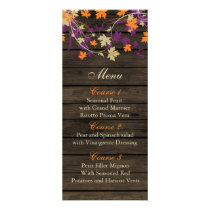 Barnwood Rustic plum fall leaves wedding menu card