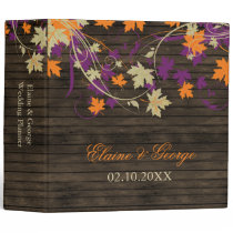Barnwood Rustic plum fall leaves wedding Planner Binder