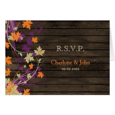 Barnwood Rustic plum fall leaves wedding RSVP Card