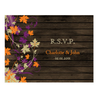 Barnwood Rustic plum fall leaves wedding RSVP Postcard