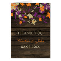 Barnwood Rustic plum fall leaves wedding Thank You Card
