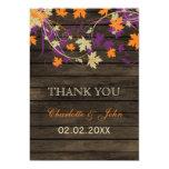 Barnwood Rustic plum fall leaves wedding Thank You Card