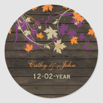 Barnwood Rustic plum fall wedding favor stickers
