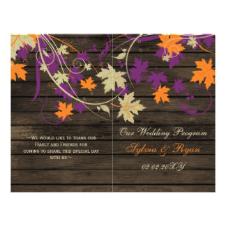 Barnwood Rustic plum fall wedding programs folded