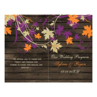 Barnwood Rustic plum fall wedding programs folded
