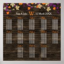 Barnwood Rustic plum fall wedding seating plan Poster