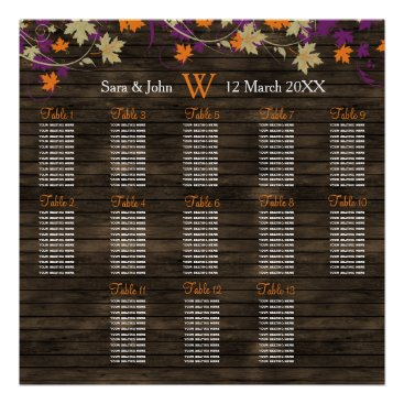 Barnwood Rustic plum fall wedding seating plan Poster