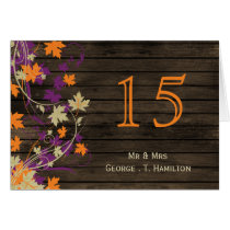 Barnwood Rustic plum fall wedding table numbers Card