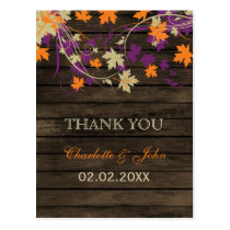 Barnwood Rustic plum fall wedding Thank You Postcard