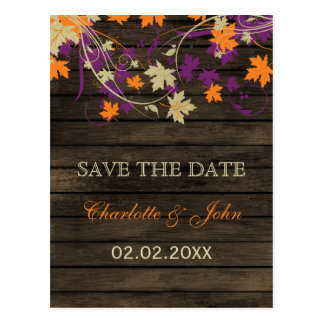 Barnwood Rustic plum leaves fall save the Date Postcard