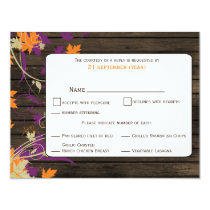 Barnwood Rustic plum leaves fall wedding RSVP Card