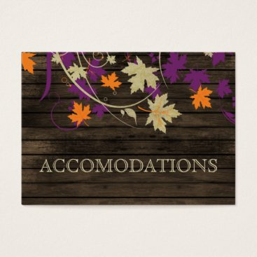 Barnwood Rustic plum leaves wedding accomodations Business Card