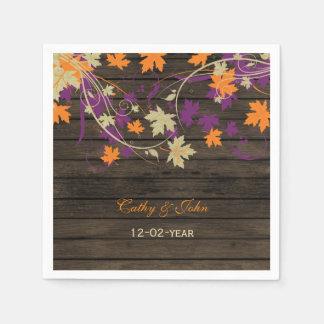 Barnwood Rustic plum personalized wedding napkin