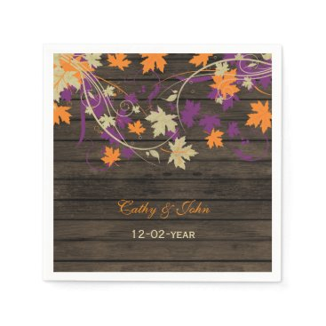 Barnwood Rustic plum personalized wedding napkin
