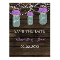 Barnwood Rustic purp flowers mason jars save dates Postcard