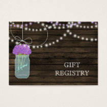 Barnwood Rustic purple mason jars gift registry Business Card