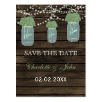 Barnwood Rustic sage flowers mason jars save dates Postcard