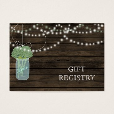 Barnwood Rustic sage mason jars gift registry Business Card