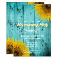 Barnwood Rustic Sunflowers Teal Housewarming Party Invitation