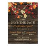 Barnwood rústico, hojas de la caída ahorra la invitación 12,7 x 17,8 cm