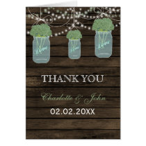 Barnwood sage floral mason jars  Thank You Card