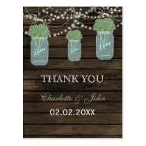 Barnwood  sage flowers mason jars Thank You notes Postcard