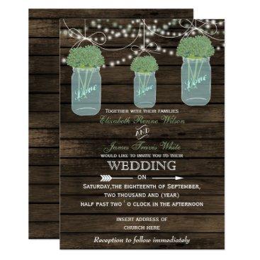 Barnwood, sage mason jar wedding invitations