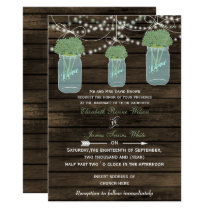 Barnwood, sage mason jar wedding invites