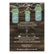 Rustic barnwood sage flowers in a mason jar wedding invites by mgdezigns