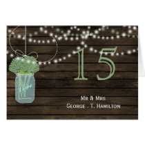 Barnwood sage mason jars table numbers card