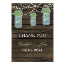 Barnwood sage mason jars Thank You Card