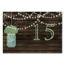 Barnwood  sage mason jars wedding table numbers