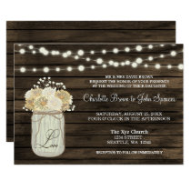 Barnwood String lights Mason jar rustic invitation