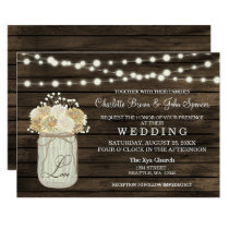 Barnwood String lights Mason jar rustic invites
