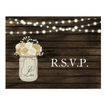 Barnwood String lights Mason jar rustic rsvp Postcard