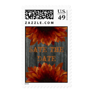 Barnwood & Sunflower Fall Wedding Save The Date Stamps